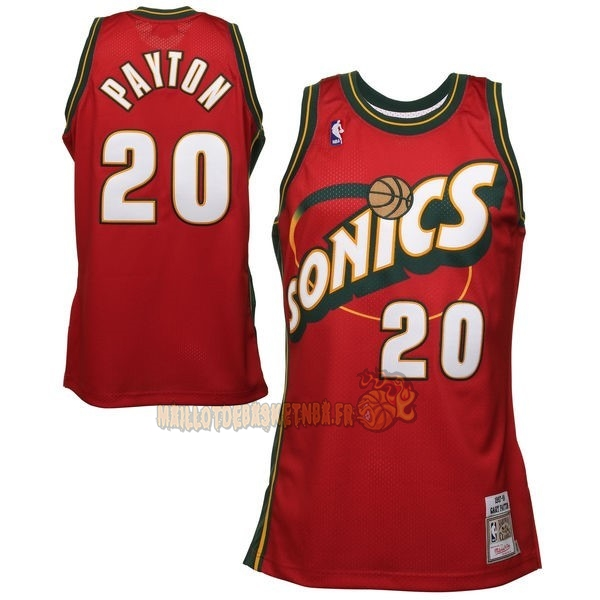 Vente Nouveau Maillot NBA Seattle Supersonics NO.20 Gary Payton Retro Rouge pas cher