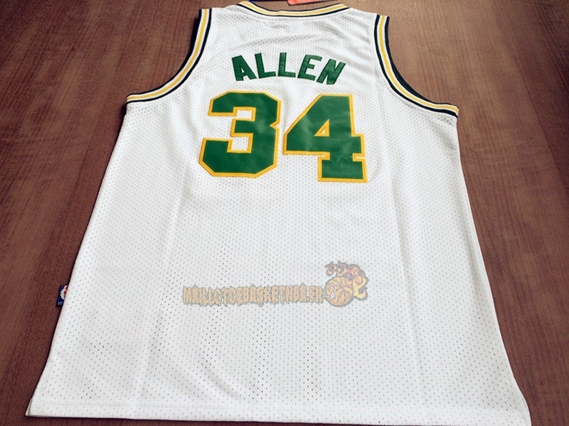 Vente Nouveau Maillot NBA Seattle Supersonics NO.34 Ray Allen Retro Blanc pas cher