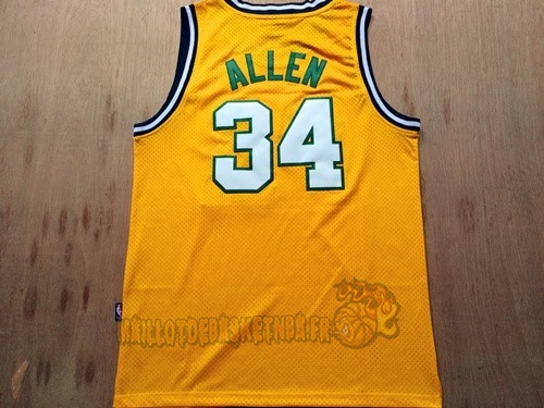 Vente Nouveau Maillot NBA Seattle Supersonics NO.34 Ray Allen Retro Jaune pas cher
