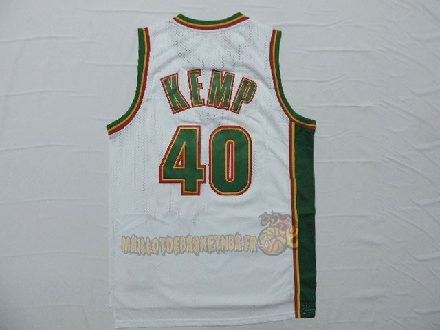 Vente Nouveau Maillot NBA Seattle Supersonics NO.40 Shawn Kemp Retro Blanc pas cher
