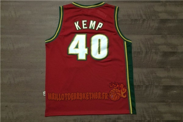 Vente Nouveau Maillot NBA Seattle Supersonics NO.40 Shawn Kemp Retro Rouge pas cher