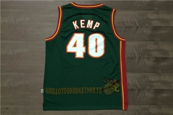 Vente Nouveau Maillot NBA Seattle Supersonics NO.40 Shawn Kemp Retro Vert pas cher