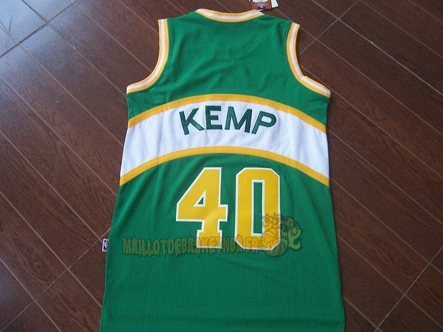 Vente Nouveau Maillot NBA Seattle Supersonics NO.40 Shawn Kemp Vert pas cher