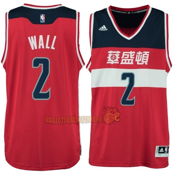 Vente Nouveau Maillot NBA Washington Wizards NO.2 John Wall Washington Rouge pas cher