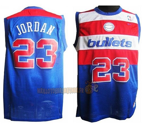 Vente Nouveau Maillot NBA Washington Wizards NO.23 Michael Jordan Retro Bleu pas cher