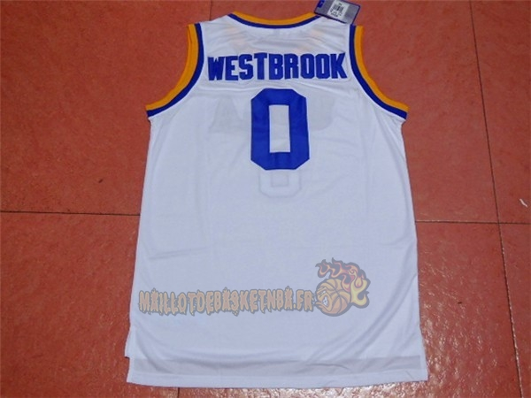 Vente Nouveau Maillot NCAA UCLA NO.0 Russell Westbrook Blanc pas cher