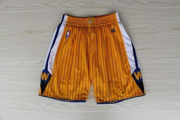 Vente Nouveau Short Basket Golden State Warriors Jaune pas cher