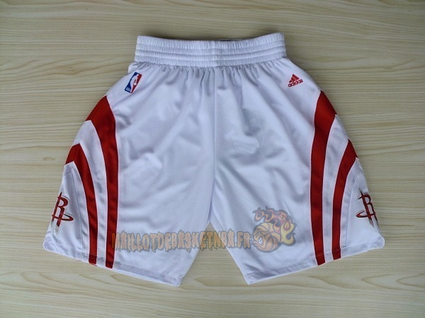 Vente Nouveau Short Basket Houston Rockets Blanc pas cher