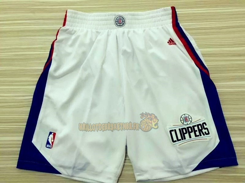 Vente Nouveau Short Basket Los Angeles Clippers Blanc pas cher